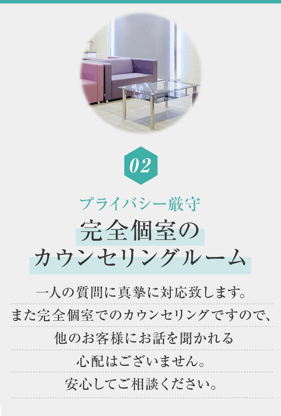 02プライバシー厳守完全個室のカウンセリングルーム